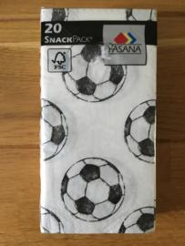 servetten voetbal print zwart wit inhoud 20 stuks