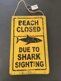 decoratie houten bord SHARK