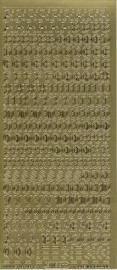 stickervel alfabet en cijfers kleur goud