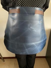 Sloof schort leder kort kleur blauw