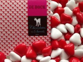 De Bock mini hartjes rood wit 250 gram