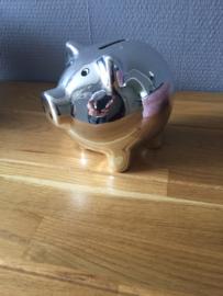 spaarpot varken zilverkleurig