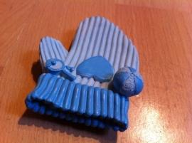baby handschoen blauw prijs per stuk