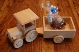 houten tractor met kar
