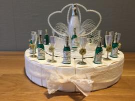 champagne fles & glazen taart