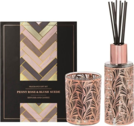 Riverdale Giftset Runway roze peony rose & blush suede diffuser and candle