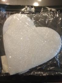 groot model hart met glitter gemaakt van foam met koord