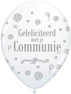 communie ballon wit zilveren tekst 30 cm, 11 inch per 5 stuks