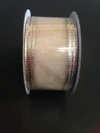 organza  champagne op rol 4 cm breed per rol