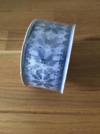 lint op rol ster blauw print 2.5 meter x 38 mm