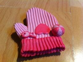 baby handschoen roze prijs per stuk