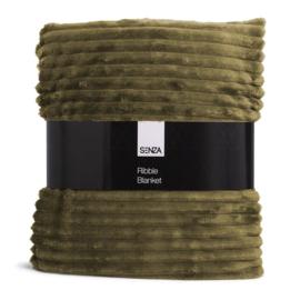 Senza fleece plaid voorzien  van klassiek ribstof design