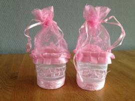 bedankje baby roze compleet met tule prijs per stuk