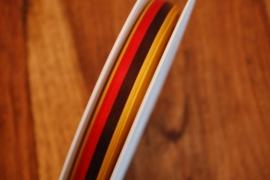 lint  in 3 kleuren rood zwart geel smal per rol