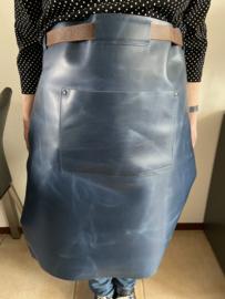 Sloof schort leder lang kleur blauw