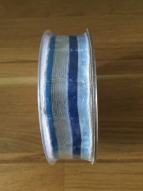 stoffen lint  blauw witte streep smal per meter