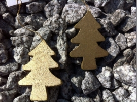 hanger met koord gouden kerstboom