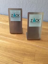 ZACK reclame standaard met logo van Zack (mat) als set