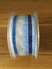 stoffen lint  blauw witte streep breed per meter