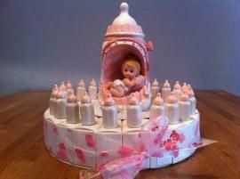 baby papfles roze dopje taart