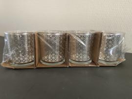 Waxinelichthouder set van 4 glazen theelichthouders