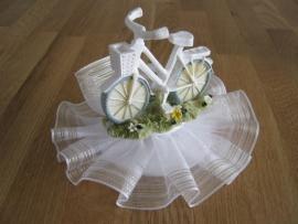 fiets taarttopper met kant compleet