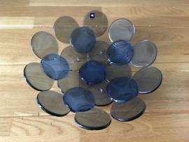 Leonardo  glazen schaal punten blauw grijs 25 cm