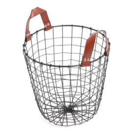 iron basket black desing mand incl 2 draaghengsels