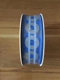 stoffen lint blauw met zilveren cirkel per meter