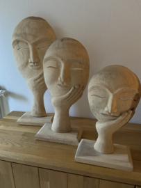 houten set van 3 gezichten uit india