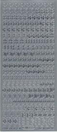 stickervel alfabet en cijfers kleur zilver