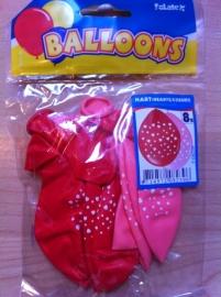 zakje ballonnen met hartjes print