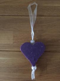bedankje zeep hanger hart groot paars