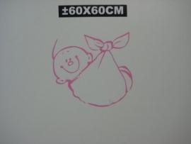 raamsticker baby in draagdoek roze