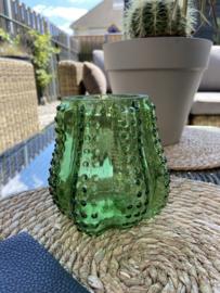 Cactus glazen theelicht houder kleur groen