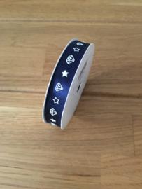 lint op rol diamant print blauw 3 meter x 13 mm