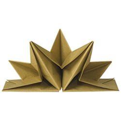 voorgevouwen servetten waaier model kleur goud per 12 stuks