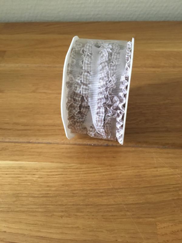 lint op rol grijs ruches 2.5 m x 16 mm