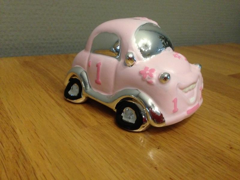 spaarpot auto kleur zilver/roze