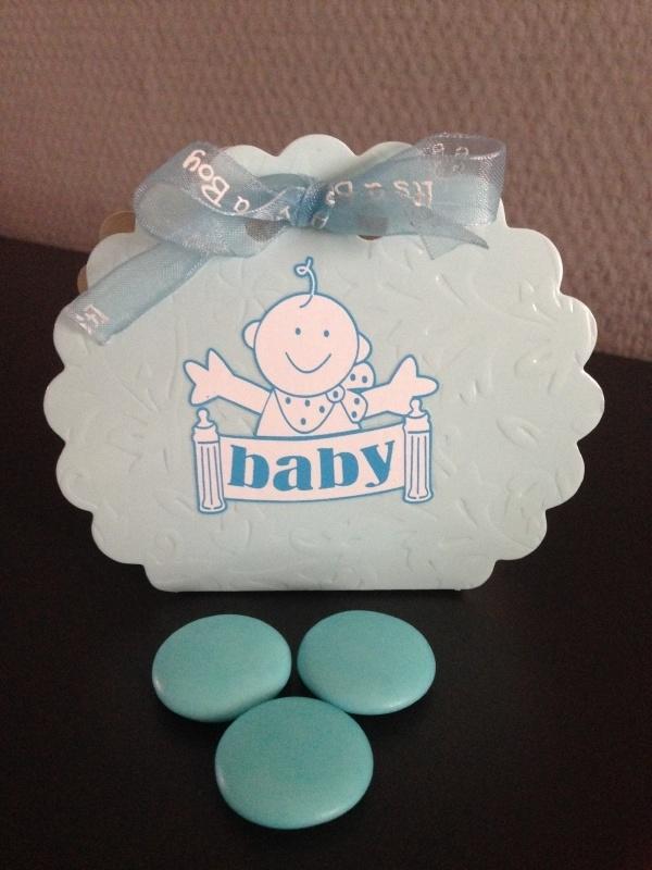 doosje baby blauw incl lint 6 stuks