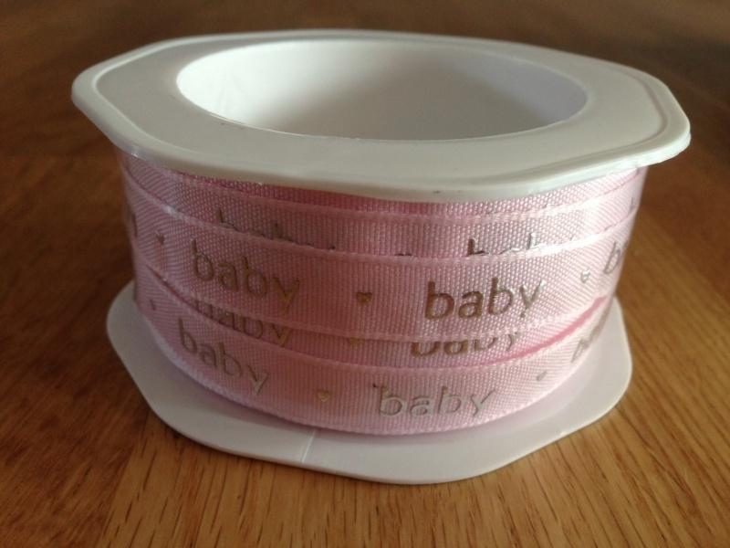 bedrukt baby roze lint per rol