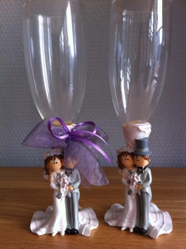 champagne glas cartoon bruidspaar setje 2 stuks