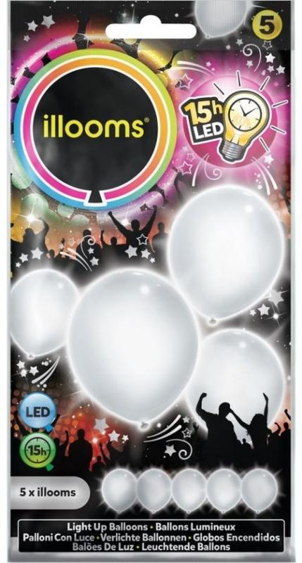illooms LED ballonnen kleur wit set van 5 stuks