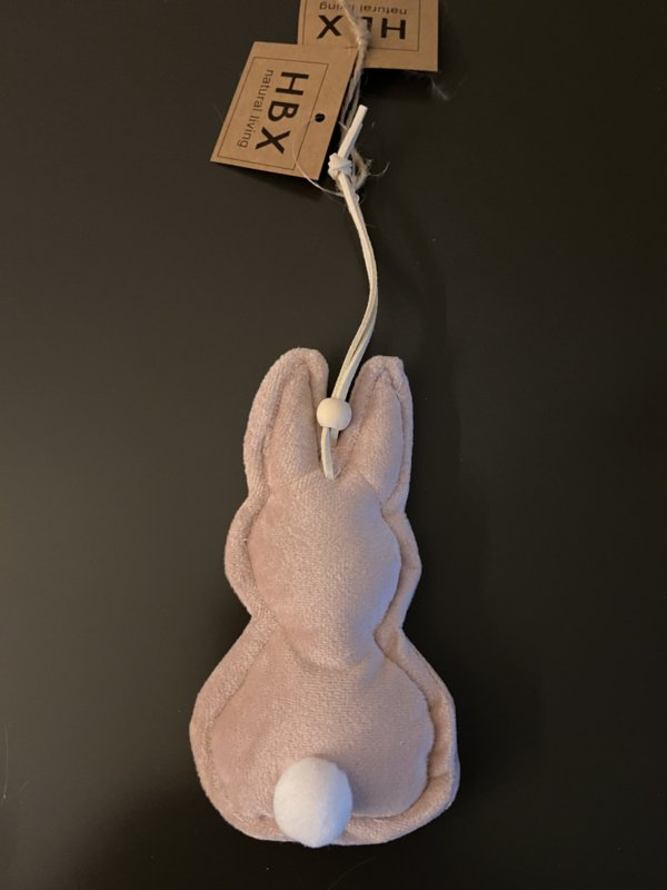 decoratie konijn fluweel roze hang model