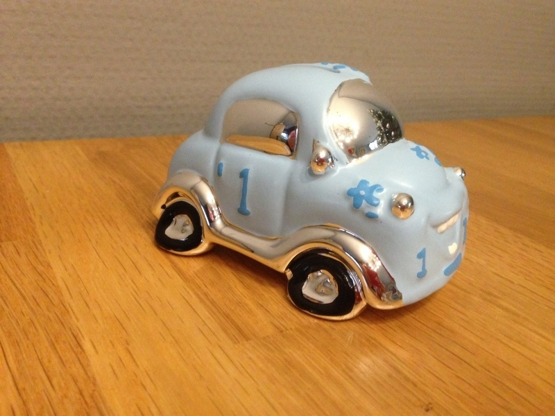 spaarpot auto kleur zilver/blauw