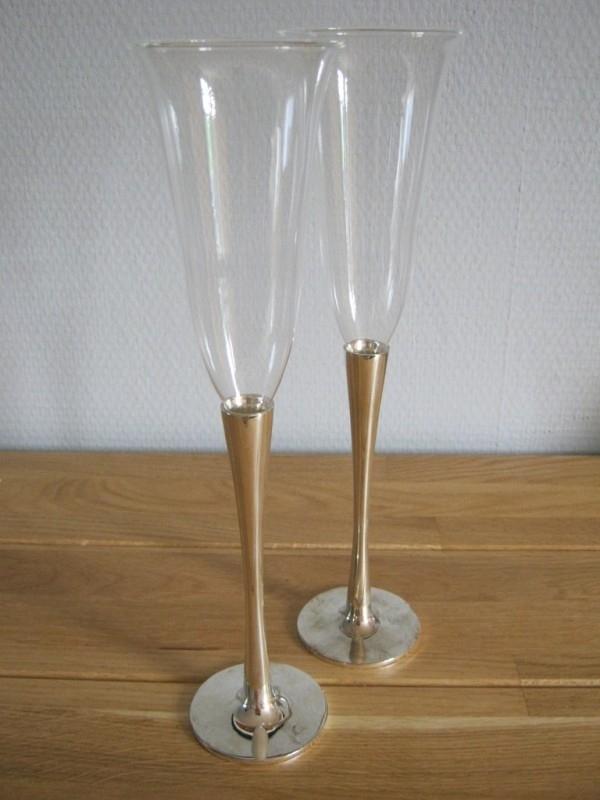 champagne glazen set verzilverd