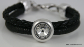 Handgemaakte dames armband zwart leer met swarovski