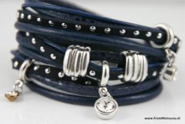 Handgemaakte leren armband blauw leer diverse bandjes