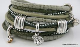 Handgemaakte leren armband groen leer diverse bandjes