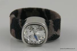 Leren ring luipaardprint donkergrijs
